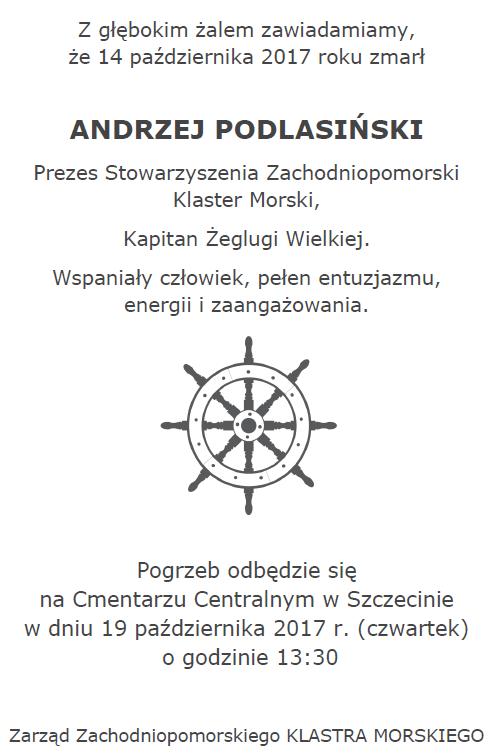 Zmarł Andrzej Podlasiński – długoletni kolega i niezawodny przyjaciel Klastra Chemicznego