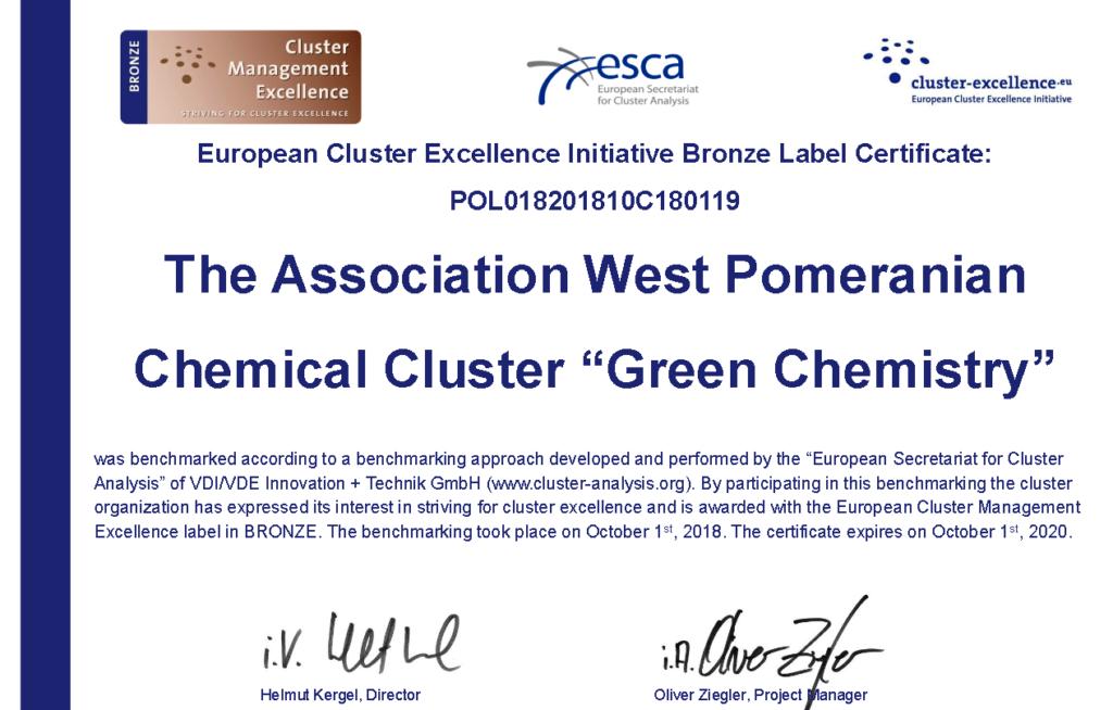 Klaster został wyróżniony Brązową odznaką European Cluster Management Excellence