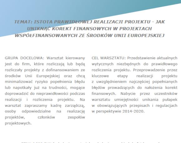 """(Polski) Szkolenie pt. """"Istota prawidłowej realizacji projektu – jak uniknąć korekt finansowych w projektach współfinansowanych ze środków UE"""""""