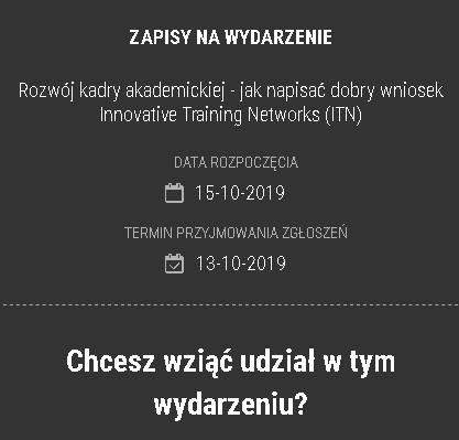 (Polski) Szkolenie: Rozwój kadry akademickiej – jak napisać dobry wniosek Innovative Training Networks (ITN)