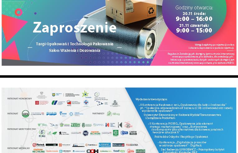 (Polski) Targi Opakowań i Technologii Pakowania – 20-21 listopada 2019
