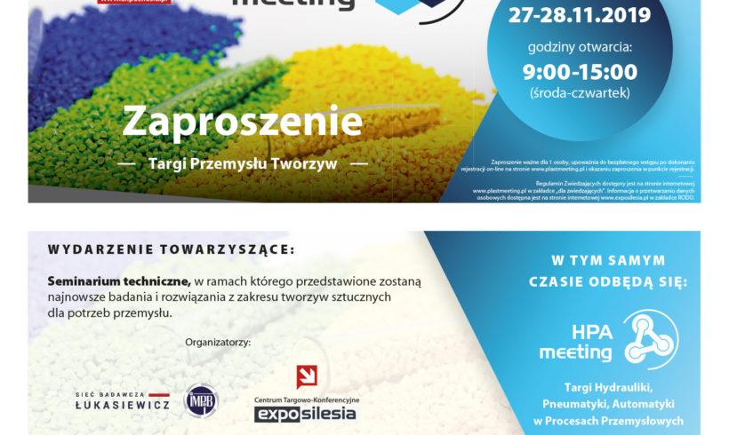 (Polski) Targi Przemysłu Tworzyw PLASTmeeting – 27-28 listopada 2019