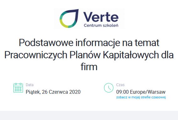 (Polski) Bezpłatne webinarium z zakresu wprowadzenia Pracowniczych Planów Kapitałowych w firmach od 1 lipca 2020r.