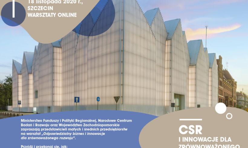 (Polski) Warsztaty nt. innowacji na rzecz zrównoważonego rozwoju i CSR dla przedsiębiorstw z zachodniopomorskiego – 18.11.2020