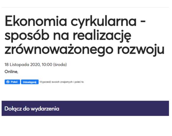 """(Polski) """"Ekonomia cyrkularna – sposób na realizację zrównoważonego rozwoju"""" – 18 listopada 2020r."""