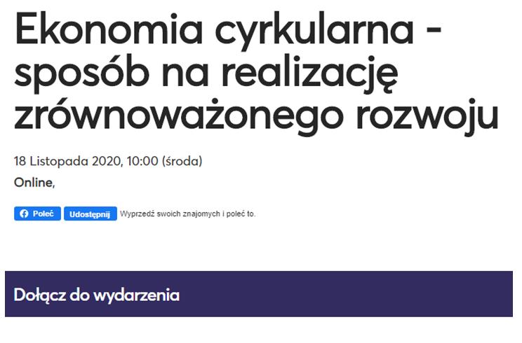 """""""Ekonomia cyrkularna – sposób na realizację zrównoważonego rozwoju"""" – 18 listopada 2020r."""