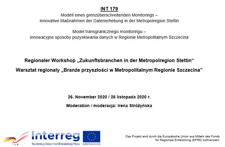 """Warsztat regionalny """"Branże przyszłości w Metropolitalnym Regionie Szczecina"""" – 26.11.2020r."""